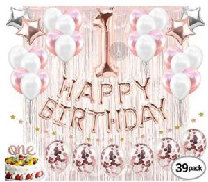 Birthday Decorations Party Supplies Cake Topper Rose Gold Banner Confetti Balloons For Her Curtain Backdrop Props Or Photos