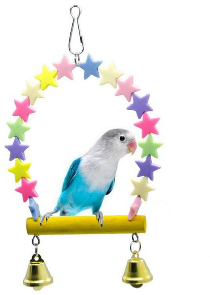 Colorful Stars Chain Chew Pet Delicate Parrot Cage Bracket Swing Toy Bite Harness Perches Trapeze Bird Toys Pets Parrot Toys