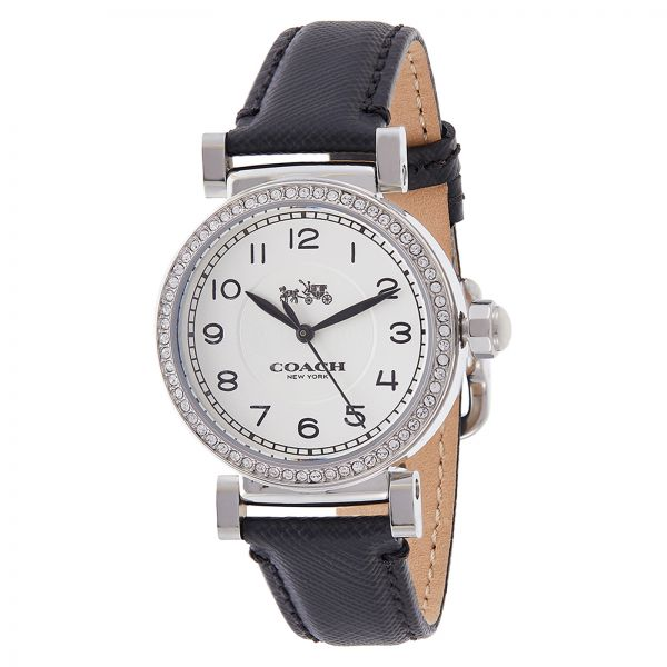 Coach Women's White Dial Leather Band Watch - 14502399