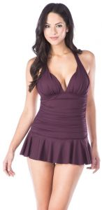 0201e27b0ab Chaps Women's Rouched Front Skirted Halter One Piece Swimsuit, Burgundy, 8