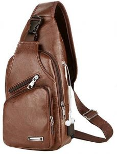 f189583cb2 Leather Sling Backpack Waterproof Lightweight Chest Pack with USB Charging  Port Shoulder Backpack Crossbody Bag for Men Women Outdoor Hiking Cycling  and ...