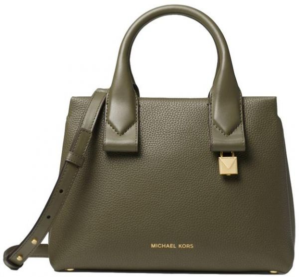 61860d05219ba MICHAEL MICHAEL KORS Rollins Small Pebbled Leather Satchel - Olive ...