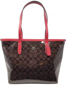 844dae58bcee Coach F38555 SVA8T WoMens Patent Coated Canvas Signature City Tote Bag  Sv Brown Red