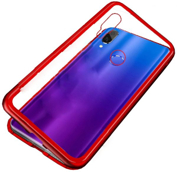 Huawei Honor 8X Case 360 degree full cover 2 pieces metal frame Magnetic  tempered glass back case - Red