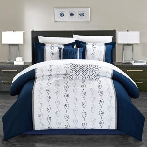 d2d16103d6b Chic Home Priston 6 Piece Comforter Set Color Block Embroidered Bedding -  Bed Skirt Decorative Pillows Shams Included King Navy