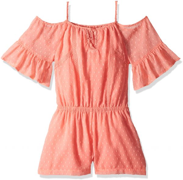 f31126211691 Ella Moss Big Girls  Cold Shoulder Peasant Romper