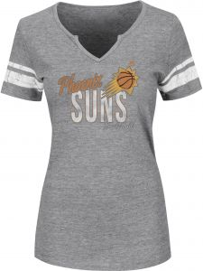 buy online 7af49 efce3 NBA Phoenix Suns Women's Every Minute Counts Short Sleeve Notch Neck Tee,  Large, Athletic Gray Heather/White