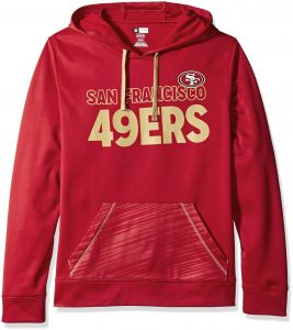 best service fd72d 4cfa8 49ERS NFL Men s Dl Stunt Program Long Sleeve Pullover Hoodie Bright  Cardinal-Harvest Gold Medium