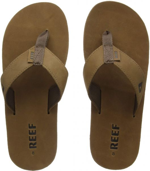 15c293d1 Reef Mens Sandals Leather Smoothy | Classic Leather Strap Flip Flops for  Men With Soft Cushion Footbed | Waterproof | Souq - Egypt
