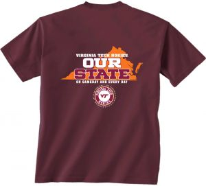 11038907 New World Graphics NCAA Virginia Tech Hokies Our State Short Sleeve T-Shirt,  X-Large, Maroon