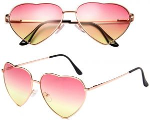 285a0f4608 2 PCS Pink Lens Heart Shaped Sunglasses for Women and Men. Metal Frame Red  to Pink Heart Glasses in Cute Aviator Style eye glasses. Great for  Valentines Day