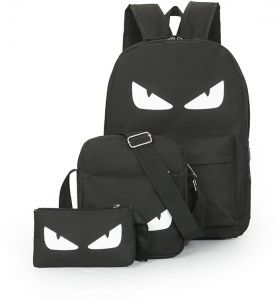 ef66b02138 The sea thief king backpack boys and girls universal black large eyes  pattern schoolbag three-piece backpack