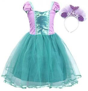 cea673d0004 Little Mermaid Costume Dress with Hairband Ariel Princess Girls Birthday  Party -H