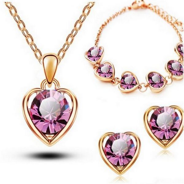 18K Gold & Silver Plated Crystal Heart Shape Sets for Women Necklace Earrings Sets