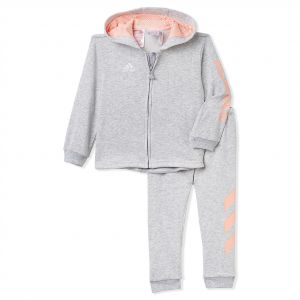 2c248ee17 adidas Heather Grey and Haze Coral 3 Stripe Hooded Suit - 3 - 6 Months
