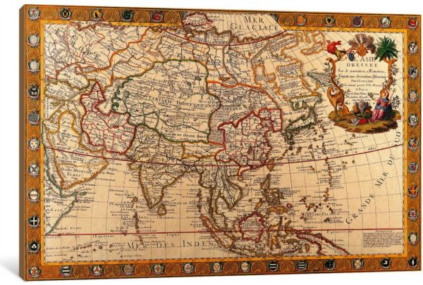 Map Of Asia To Print.Icanvasart 1 Piece Antique Map Of Asia Canvas Print 0 75 X 12 X 8