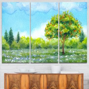 Designart Mt7314 3p Tree In Spring Watercolor Painting Landscape Glossy Metal Wall Art Green Blue 36x28