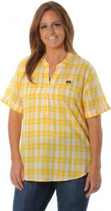 d313adb0126 UG Apparel NCAA Missouri Tigers Women's Plus Size Short sleeve Plaid Top,  1X, Gold