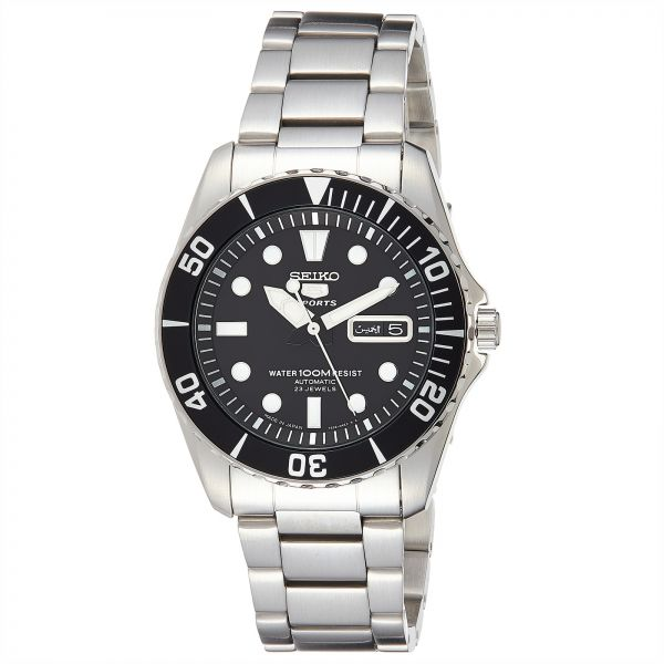 los angeles 21d24 19000 Seiko 5 Men's Black Dial Stainless Steel Automatic Watch - SNZF17J1