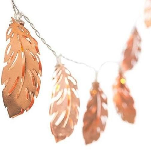 10 LED Warm White Leaves String Light Home Decorative Lights Leaves Fairy Starry Lighting Feather Copper Metal Lantern Lighting for Rose Gold Party Bedroom Wall Bridal Wedding Showert Indoor Patio Lights