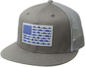 9a2b9758 Columbia Unisex PFG Mesh Flat Brim Ball Cap, Titanium, Fish Flag,  Small/Medium