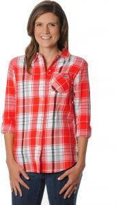 a9d05231e33 UG Apparel NCAA Ohio State Buckeyes Women's Plus Size Boyfriend Plaid Shirt,  3X, Red/Black/White