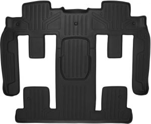 MAXLINER Floor Mats 2nd Row and Center Aisle Liner Black for 2009-2014 Tahoe 2011-2014 Yukon with 2nd Row Bucket Seats