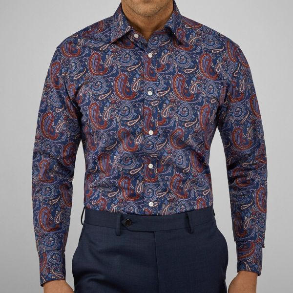 John Henric Kansas Navy Brown Paisley Shirt
