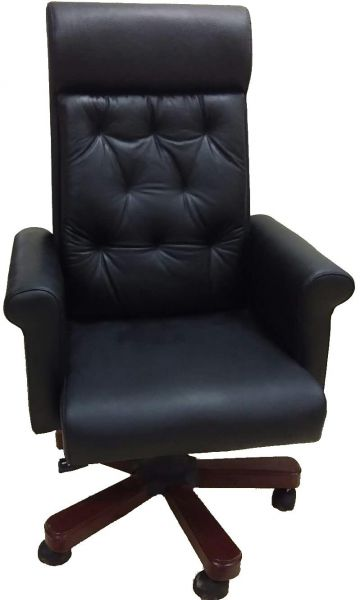 Kivik Faux Leather Managers Chair with Armrest, Height Adjustable Chair, Black