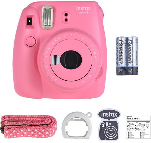 Fujifilm Instax mini 9 Instant Film Camera with Selfie Mirror 2pcs Battery, Flamingo Pink