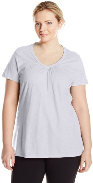 37e55506 ... Short Sleeve Shirred V-Neck Tee, White, 5X. by Just My Size, Sportswear  - Be the first to rate this product