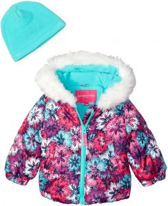 61732c11b London Fog Baby Girls Puffer Jacket with Scarf and Hat, Floral Multi, 18MO