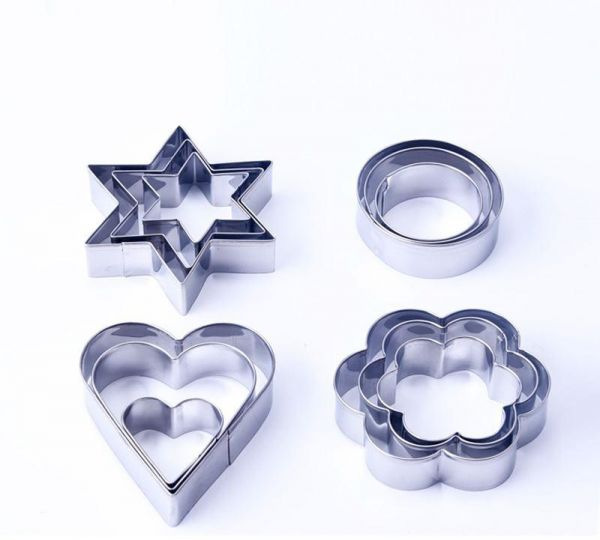 12PCS Set Of 4 Stainless Steel Biscuits Baking Molds Star Flower Round Heart Fruit Cut Reusable Cake Baking Mould