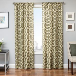 Softline Prom Wave Window Curtain//Drape//Panel//Treatment with Rod Pocket and Geometric Tiled Pattern in Ocean Blue 55 x 84 Ocean