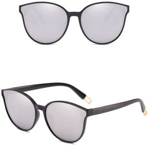 e246f152468b Cat Eye Over-Sized Women Sunglasses - Flat 100 percent UV 400 Protection Mirror  Lenses - Silver
