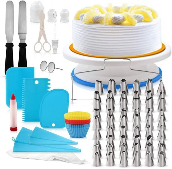 106 pcs Cake Turntable set,Cake Decorating Supplies Kit with 54 Icing Tips, Couplers and Bags, Professional Baking Supplies Frosting Tools Set for Cupcakes Cookies
