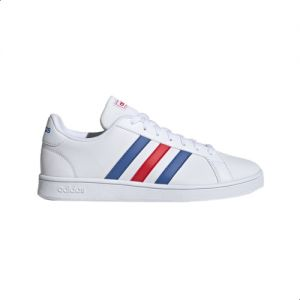 website for discount popular brand entire collection Adidas Grand Court Base Contrasting 3-Stripe Low-Top Lace-Up Tennis  Sneakers for Men - Ftwr White, 44