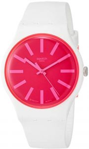 Swatch Suow162 Silicone Pink Dial Round Analog Watch For Women