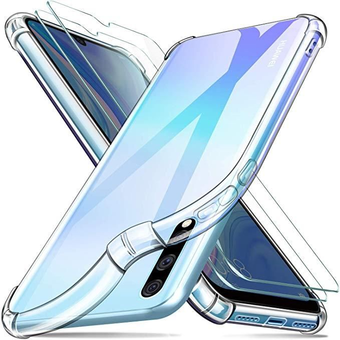 Back clear cover with bumper For huawei y9s with clear Screen