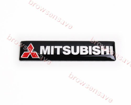2pcs X Mitsubishi Car Emblem Badge Logo Sticer Aluminum Gel Black